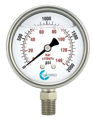2.5 Liquid Filled Pressure Gauge 0- 2000 Psi Stainless Steel Case Lower Mount