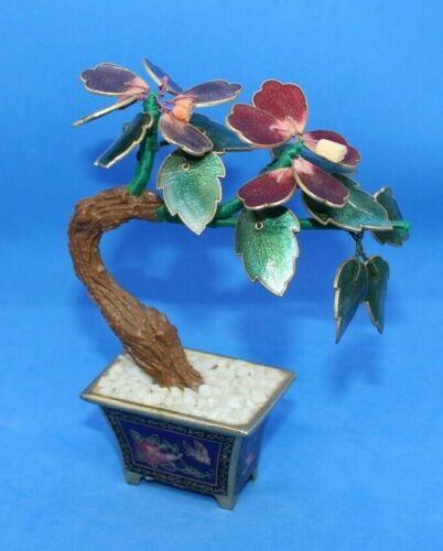 Vintage Penco Cloisonne Planter with Enamel Flower Bonsai Small Tree Butterfly