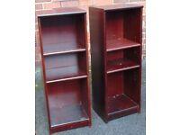 pair of matching mahogany colour bookshelves