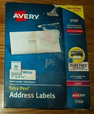 Avery 5160 Easy Peel Address Label - 1 2.62 Length Permanent 3000 Box