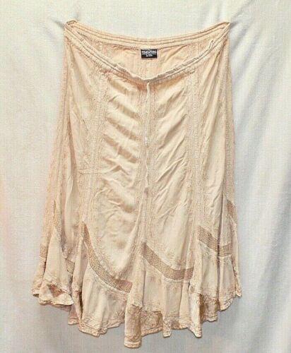VTG Holy Clothing Boho Circle Skirt Drawstring Embroidery Tan Rayon Sz L/XL  #L