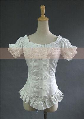 Lolita Gothic Barbie Palace Retro Falbala Short Bubble Sleeve Shirt Blouse