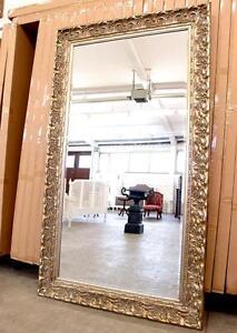 Grand miroir baroque 210x120cm cadre en bois argente for Recherche grand miroir