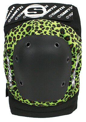 Smith Scabs Safety Gear - GREEN LEOPARD Elite Knee Pads roller derby skateboard