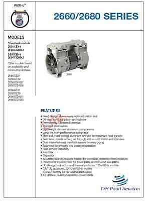 New 2660ce44 Thomas Vacuum Veneer Pump Compressor 3-4cfm 26hg Aerator