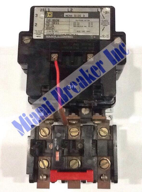 SQUARE D MOTOR STARTER 8536 TYPE SE01 120V NEW COIL 3 POLE UNIT