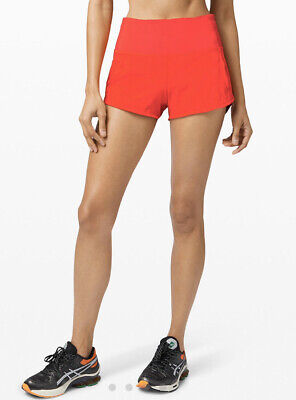 "HOT NEW LULULEMON HIGH RISE Speed Up 2.5"" Short Size 4 Carnation Red FREE SHIP"
