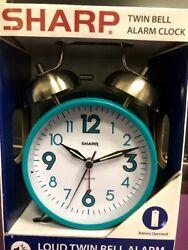 Sharp SPC851 Twin Bell Loud Quartz Alarm Clock Back Light Retro Teal