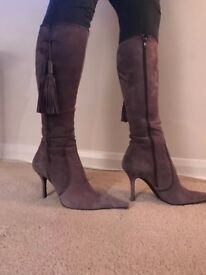 DESIGNER LEATHER KNEE HIGH BOOTS