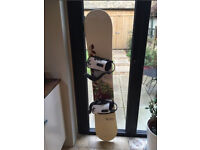 Women's Rome Blue 55 Snowboard 155cm and Rome bindings