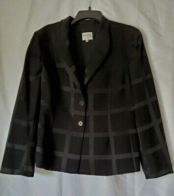 Armani Collezioni Black Wool Acetate Blazer Jacket Dress Geometric Vintage Italy