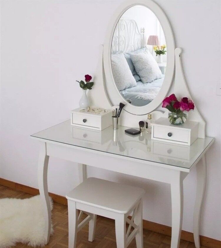 Ikea Hemnes White Dressing Table Vanity Desk With Mirror And 3 Drawers