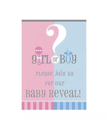 Gender Reveal Baby Shower Fill-In Invitations - Pink & Blue. 8 Cards & Envelopes](Gender Reveal Baby Shower Invitations)