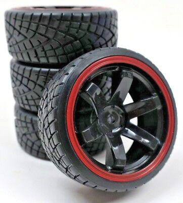(1/10 Scale On-Road 6 Spoke Black Rims Red lip V-Grove Drift Tires 12mm RC Wheel )