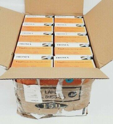 Case of 1500 Tronex Safety Vinyl Powder Free L Gloves 8955-30 New Damaged Box