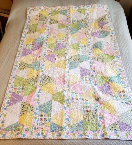 "Superb Handmade Signed Crib Quilt Pastel Colors 64"" x 40"""