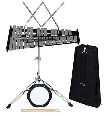 32 Notes Percussion Glockenspiel Bell Kit with Practice Pad+Mallets+Sticks+Stand