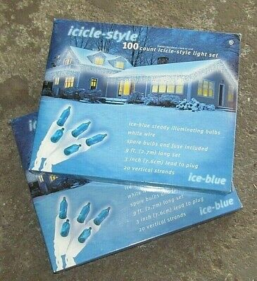 2-Sets Icicle- Style Light Set Ice Blue 100 Count. New in Boxes Indoor/Outdoor