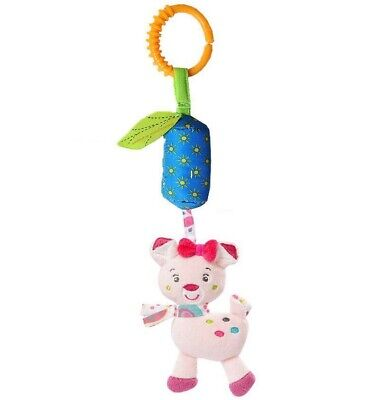 Cute Animal Plush Baby Crib/Car seat Attach Rattle Pull Hanging Toy