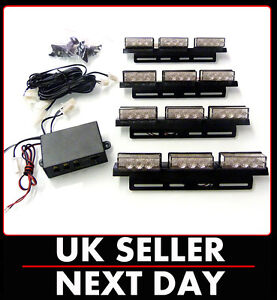4-x-LED-FLASHING-STROBE-RECOVERY-GRILL-LIGHTS-AMBER-BREAKDOWN-TRUCKS-VEHICLE-UK