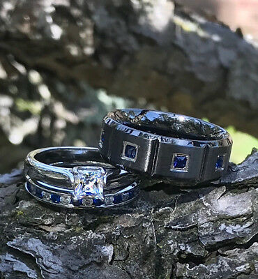 His and Her Wedding Ring Set Stainless Steel Sterling Silver Sapphire Blue CZ  - Blue And Silver Wedding