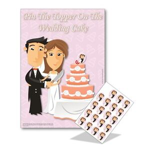 Hen Night Party Pin The Topper On Wedding Cake 20 Players Free