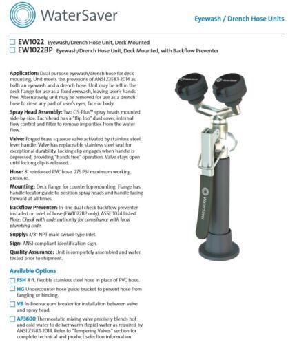 Watersaver EW1022 Eyewash/Drench Hose Unit, Deck Mounted with hardware