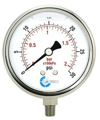 4 Pressure Gauge Stainless Steel Case Liquid Filled Lower Mnt 30 Psi
