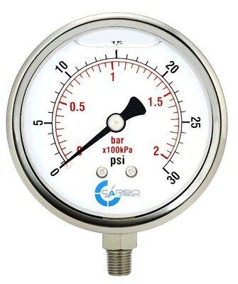 4 Pressure Gauge Stainless Steel Case Liquid Filled Lower Mnt 30 Psi