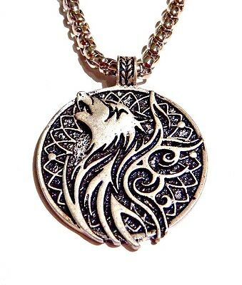 Norse Fenrir   Ravens Reversible Pendant Winged Howling Wolf Crow Necklace B6