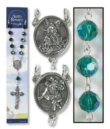 Catholic Rosary AUTO Rear View Mirror Saint Christopher & Guardian Angel GREEN