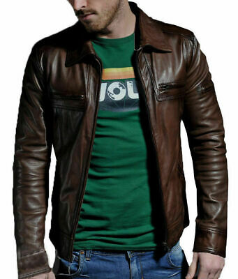 MENS GENUINE LEATHER JACKET SLIM FIT REAL BIKER RETRO NEW