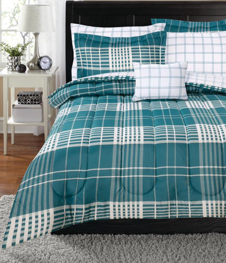 New Teal Plaid Queen Size Comforter Set Sheets Bed In a Bag