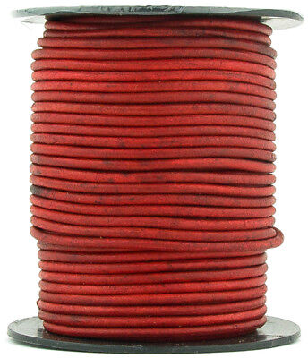 Xsotica® Red Natural Dye Round Leather Cord 1mm 10 meters (11 yards)