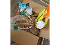 Budgie and lovebird food along with millet, small swing and cage rope