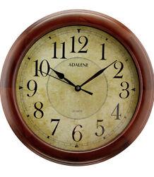 "14"" Wall Clock Silent Non-Ticking Quartz Modern Farmhouse Decor Wooden Battery"