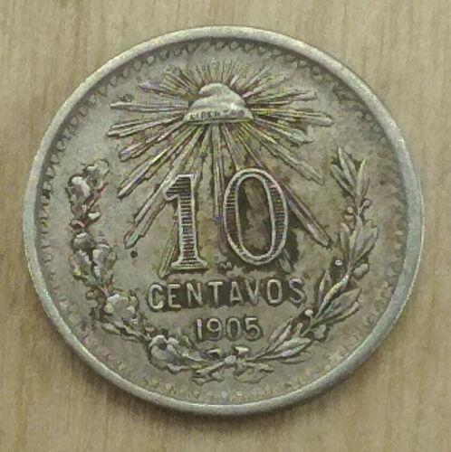 1905 MEXICO SILVER 10 CENTAVOS BETTER GRADE COIN  BCS/MEI