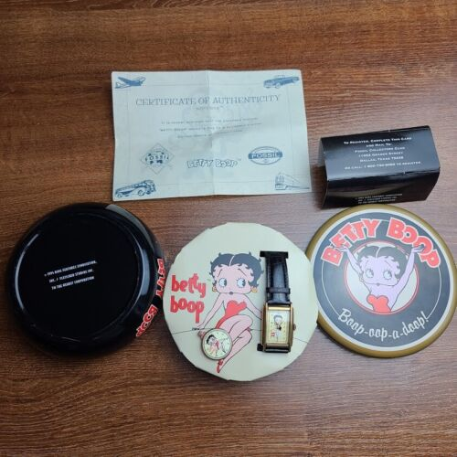 Vintage 1994 Betty Boop Fossil Watch In Collector Tin With COA & Lapel Pin NWT