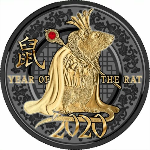 2020 Cameroon Year of the Rat Success 10g Silver Coin w/Gemstone - 999 Made