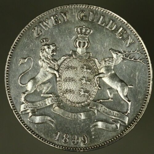 Germany Wurttemberg Silver 2 Gulden  UNC wiped  A1409