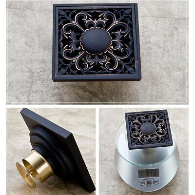 US Floor Mounted Oil Black Bathroom Floor Drain Waste Grate Carved Shower Square