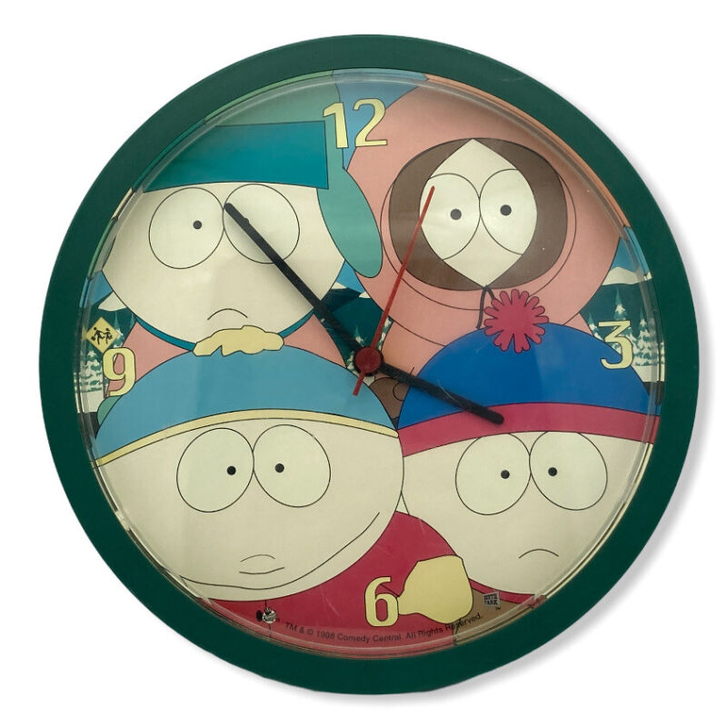 "Vintage 1998 South Park 10.25"" Wall Clock Rare TESTED WORKS"
