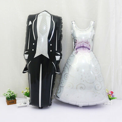 Bride And Groom Balloons (Bride dress and Groom tux Shape Aluminum Foil Balloon Wedding Party)