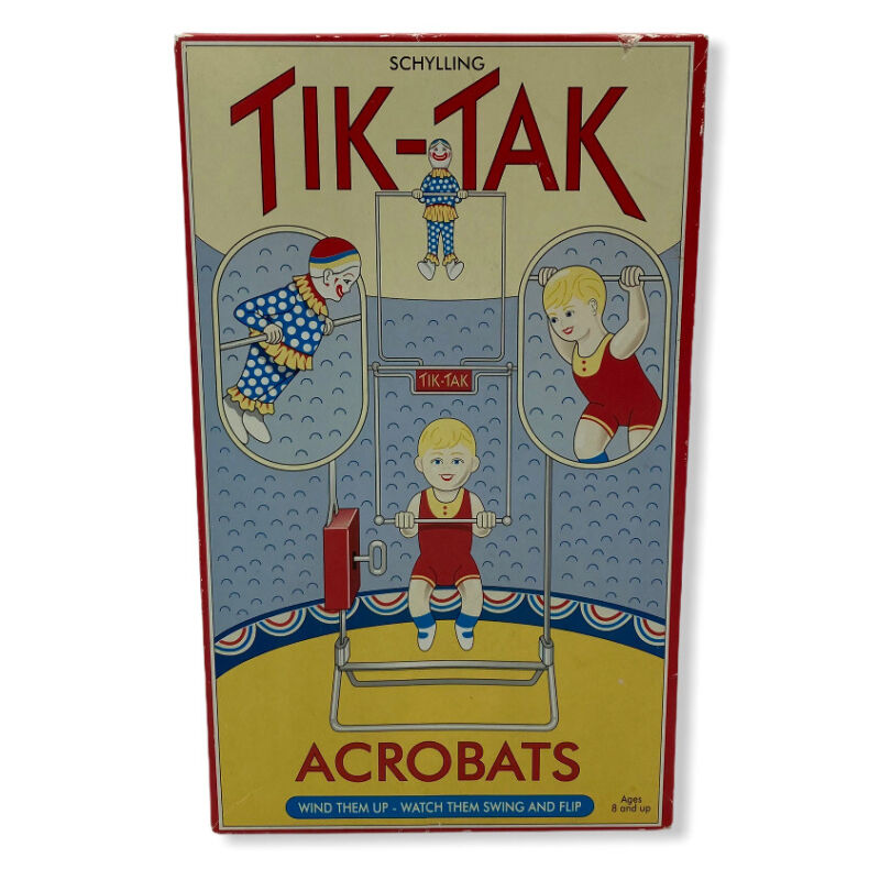 SCHYLLING TIN WIND UP TIK TAK ACROBATS REPRODUCTION TOY WORKS GREAT