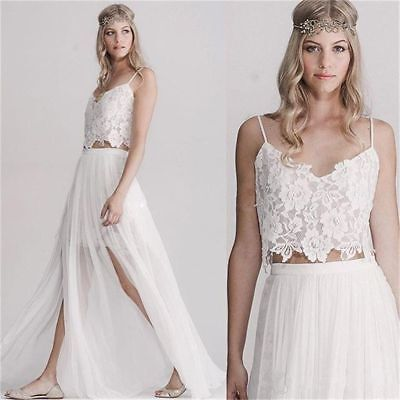 Used, 2 Pieces Bohemian Lace Wedding Dresses Cheap Hippie Beach Wedding Dress  for sale  Shipping to Canada