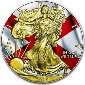 2015 USA Walking Liberty Eagle US Flag ALABAMA $1 1oz Silver +24K Gold - <span itemprop='availableAtOrFrom'>Ogrodzieniec, Polska</span> - 2015 USA Walking Liberty Eagle US Flag ALABAMA $1 1oz Silver +24K Gold - Ogrodzieniec, Polska