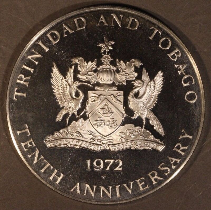 1972 FM Trinidad & Tabago 5 Dollars Proof Rare         ** Free U.S. Shipping  **