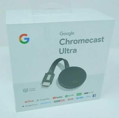 Google Chromecast Ultra 4K Digital Media Streamer Black New Sealed
