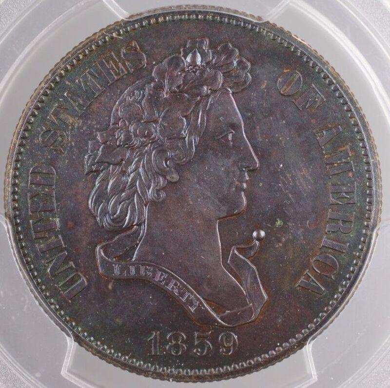 1859 Proof Copper Half Dollar 50c Pattern Coin J-240 Pcgs Genuine Toned Ww