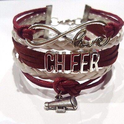 New cheerleader cheer Infinity Love Bracelet Maroon & White w megaphone -